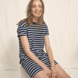Madewell Pocket Tee Dress in Navy and White Stripe